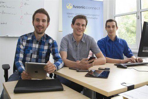 Alexander Troy, David Roth und Matthias Burtscher (v. l.) setzen unter anderem auf Social Web, Software und Mobile Apps. Fotos: VN/Paulitsch