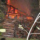 Holzschuppen in Flammen