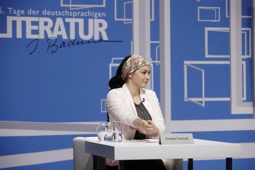 Jungautorin Cornelia Travnicek beim Bachmann-Wettbewerb. Foto: ORF