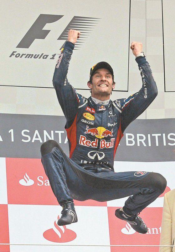 Mark Webber machte nach seinem Sieg in Silverstone das Rumpelstilzchen. Foto: reuters