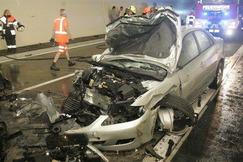 Mit diesem Unfall am 1. Juli hatte die Unfallserie im neuen Pfändertunnel begonnen. Foto: Vol.at