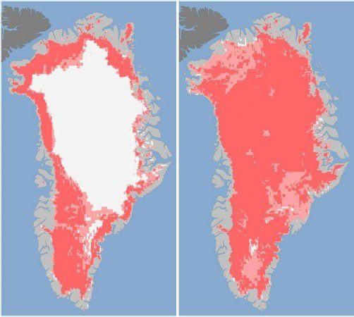 Satellitenbilder der NASA vom 8. und 12. Juli machen das Ausmaß deutlich. Foto: epa