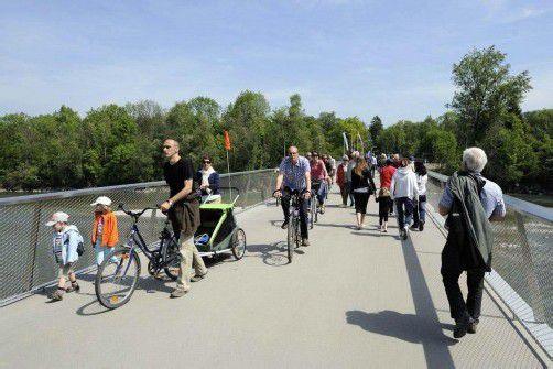Zählungen zeigen, dass die Radbrücke Hard-Bregenz gut angenommen wird.