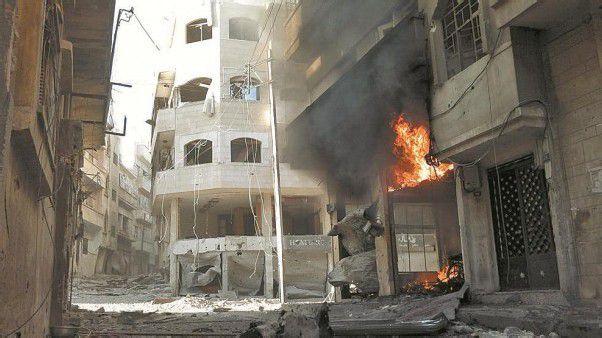 Zerstört: Die Innenstadt von Homs gestern Vormittag. Homs ist das Zentrum des syrischen Widerstands gegen das Regime von Assad. Foto: Reuters