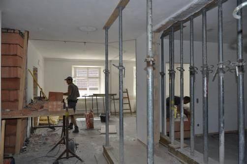 Arbeiten für den Umbau des Rathauses. Foto: Gemeinde Göfis