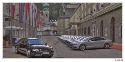 Audi-Flotte bei den Salzburger Festspielen: 57 Fahrzeuge (A8 und A8 L) prägen das Stadtbild. Foto: werk