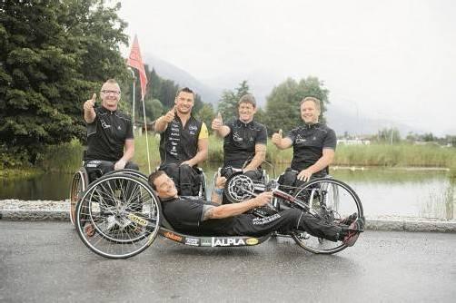 Bereit für eine gute Tat von schweißtreibendem Charakter: Rollstuhlclub Enjo Vorarlberg. Foto: VN/Rhomberg