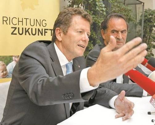 Der neue ÖVP-Landesrat Wolfgang Waldner will mit Parteichef Obernosterer (r.) die Kärntner Volkspartei in die Landtagswahl führen. Foto:APA