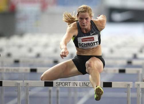 Fühlte sich im Linzer Stadion wohl: Österreichs Hürdensprinterin Beate Schrott, die Rang sechs belegte. Foto: apa