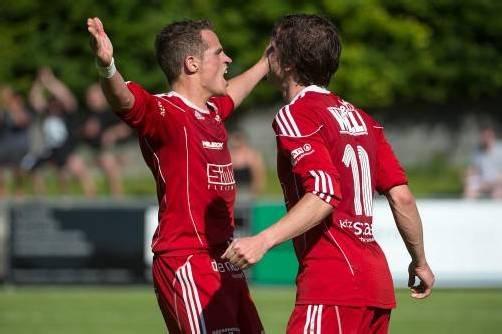 Helmut Hafner bejubelt sein Tor zum 1:0 in Saalfelden. VN/Lerch
