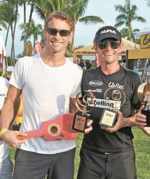 Jenson Button (l.) und sein Trainingspartner Thomas Vonach. Foto: vn