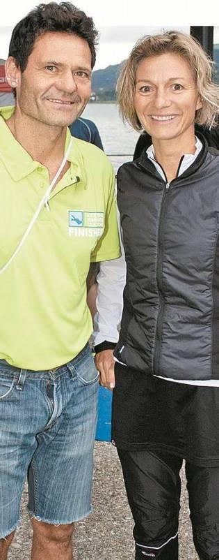 Kameramann und Triathletin: Alexander Roschanek mit Jasmin Hämmerle-Keller. FotoS: FRANC