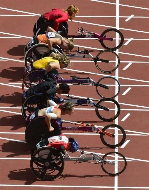 Volle Konzentration der Damen vor dem 100-m-Wettkampf der Klasse T34. Foto: reuters