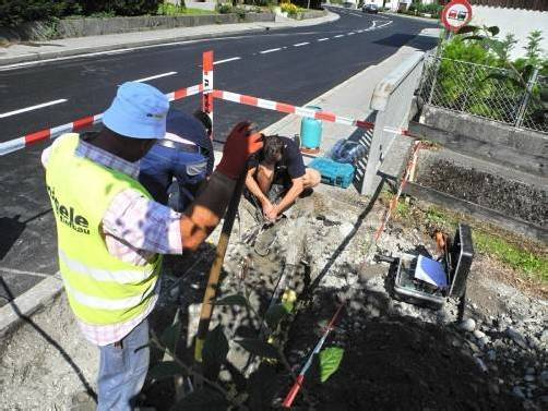 Vor Abschluss: Straßensanierung in Rankweil. Foto: SM