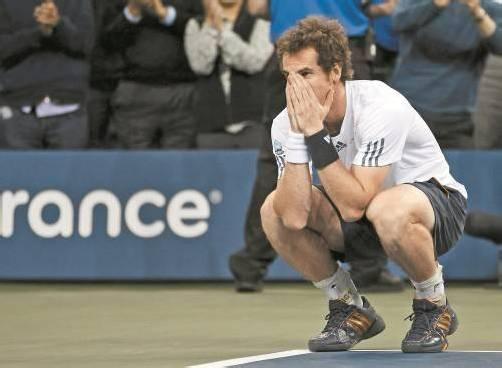 Andy Murray kann nach dem Matchball sein Glück kaum fassen. Foto: reuters