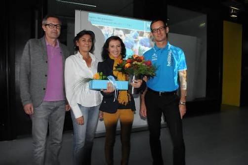 Beim Empfang: Günter Kraft (Sportreferat), VLV-Präsidentin Helene Pflüger, Sabine Reiner und Gernot Stoppel (hellblau.Powerteam). akp