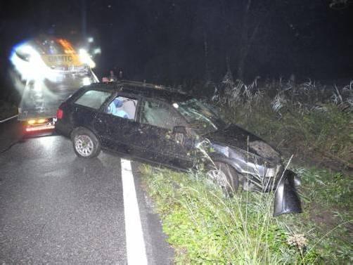 Das Auto musste aus dem Gebüsch geborgen werden. Foto: polizei