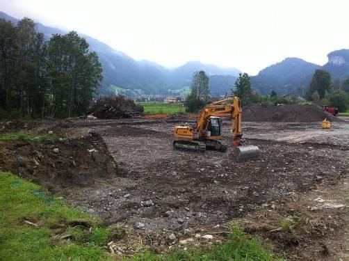 """Dem neuen """"Sennhaus an der Ach"""" in Bezau wird der Boden bereitet, 2013 soll das rund acht Millionen Euro teure Projekt fertig sein. Foto: ak"""