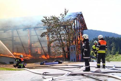 Der Stall stand sofort in Vollbrand. Die Feuerwehr konnte verhindern, dass sich das Feuer auf das Wohnhaus ausbreitet. foto: vol.at/pletsch
