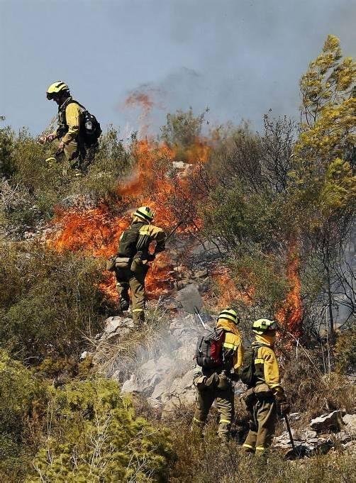 Die Feuerwehrleute haben die Brände unter Kontrolle.