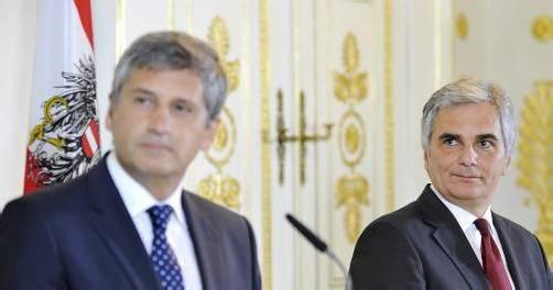 Die Koalitionspartner Spindelegger und Faymann (v. l.) sind im Clinch. Foto: apa