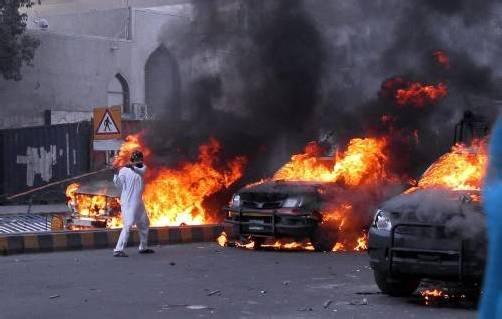 Die Proteste gegen das Mohammed-Schmähvideo werden von massiver Gewalt begleitet. Foto: Reuters