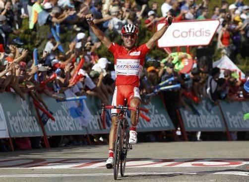 Joaquim Rodriguez jubelt über seinen dritten Tagessieg. Foto: RTS