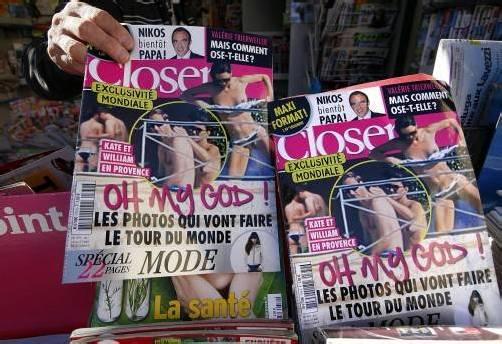 """Kate ist entrüstet: Das französische Magazin """"Closer"""" hat Bilder von ihr abgedruckt, die sie oben ohne im Frankreich-Urlaub zeigen. Rts"""