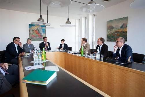 Trafen sich zu Budgetgesprächen: LH Markus Wallner und Spitzenvertreter aller Landtagsfraktionen. Foto: vn/hartinger
