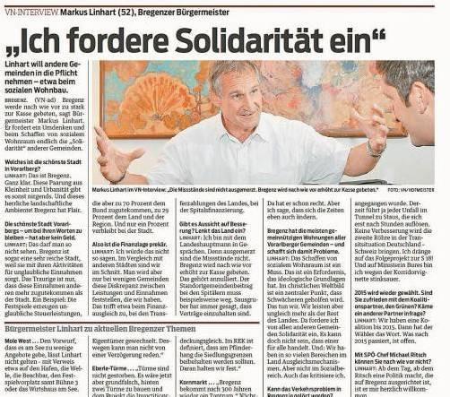 VN, 22. September: Linhart will andere Gemeinden in die Pflicht nehmen.