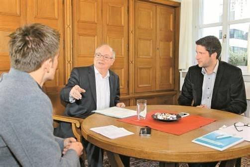 """Wolfgang Rümmele im VN-Interview: """"Das Spital bleibt bei uns."""" Foto: VN/Hofmeister"""