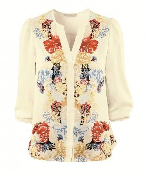 Blumig: Transparente Bluse mit floralem Print um 24,95 Euro, gesehen bei H&M