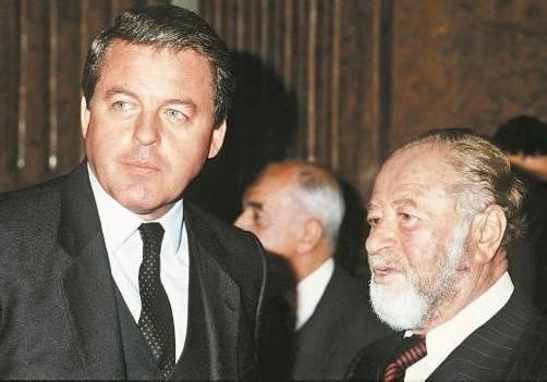 Alt-Kanzler, die in U-Ausschüssen auftraten: Kreisky (r.) beschimpfte Feurstein, Vranitzky hatte offenbar nicht viel zu sagen. Foto: APA