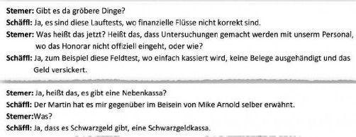 Auszug aus Gesprächsaufzeichnung: Stemer war über die Schwarzgeldkassa bereits informiert.