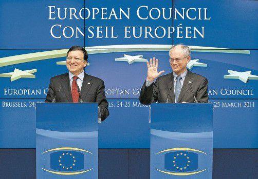 Barroso und Van Rompuy sehen den Nobelpreis als Ermutigung während der Krise. Foto: REUTERS