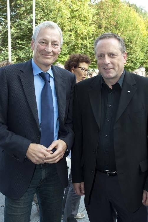 Christoph Hackspiel (l.) mit AK-Präsident Hubert Hämmerle.