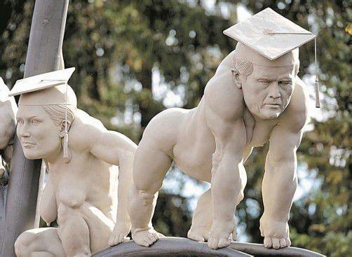 Detail des Lenk-Werks: Ist das Karl-Theodor zu Guttenberg? Foto: AP