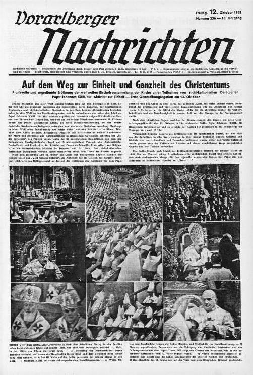 Die VN widmeten der Konzilseröffnung drei Zeitungsseiten.
