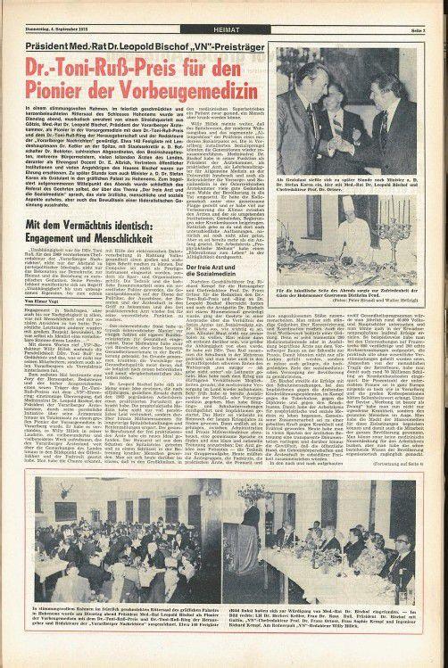 Dr. Leopold Bischof bei der Dr.-Toni-Russ-Preis-Verleihung 1975.