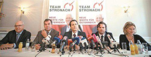 Fünf BZÖ-Abgeordnete wechselten zu Stronach (v.l.): Erich Tadler, Christoph Hagen, Robert Lugar, Stefan Markowitz und Elisabeth Kaufmann-Bruckberger. Foto: APA