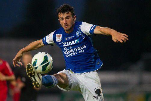 Furkan Aydogdu ist mit dem Ball per Du: Der 24-Jährige erzielte in 14 Meisterschaftsspielen vier Tore und drei Assists im Trikot des FC Lustenau. Foto: steurer