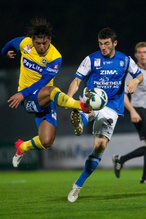 Furkan Aydogdu (rechts) erzielte mit einen schönen Volleyschuss die 1:0-Führung für den FC Lustenau. Foto: steurer