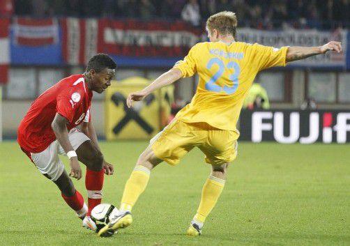 Mit einer starken Leistung kehrte David Alaba (links) ins ÖFB-Team zurück. Der Bayern-Legionär glänzte als Drehscheibe im Mittelfeld sowie als Vorbereiter und Torschütze. Foto: Dapd