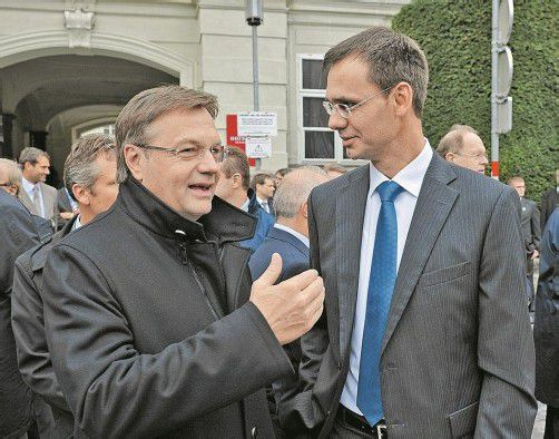 """Platter (l.), Wallner: """"Als Alpenregion EU-Fördermittel keilen."""""""