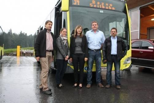Probefahrt mit Wolfgang Hagspiel, Caroline Jäger, Daniela Kohler, Gerhard Felder und Martin Zündel.