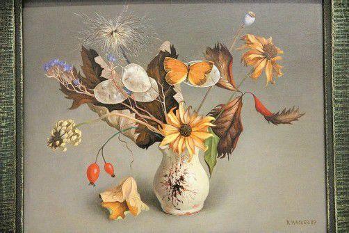 """Rudolf Wacker: """"Herbststrauß mit Schmetterling"""", 1937. Foto: Ag"""