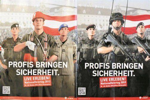 Umstrittene Heereswerbung: Verteidigungsministerium zeigt einmal Soldaten mit und einmal ohne Waffen (l.). Foto: APA