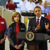 Wandte sich als Krisenmanager ans Volk: Präsident Barack Obama im Hauptquartier des Roten Kreuzes in Washington. Foto: AP