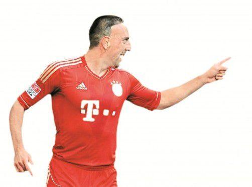 Zeigte sich in der Bundesliga beim 5:0-Erfolg der Bayern gegen Düsseldorf in Topform: Gegen Lille will Franck Ribéry wieder drei Punkte einfahren. Foto:epa