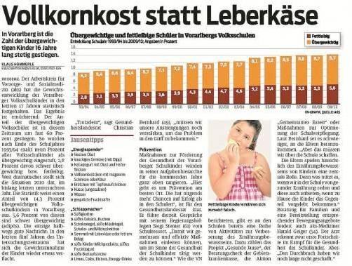 "Zum VN-Bericht vom 14. 9. 2012 ""Vollkornkost statt Leberkäse""."